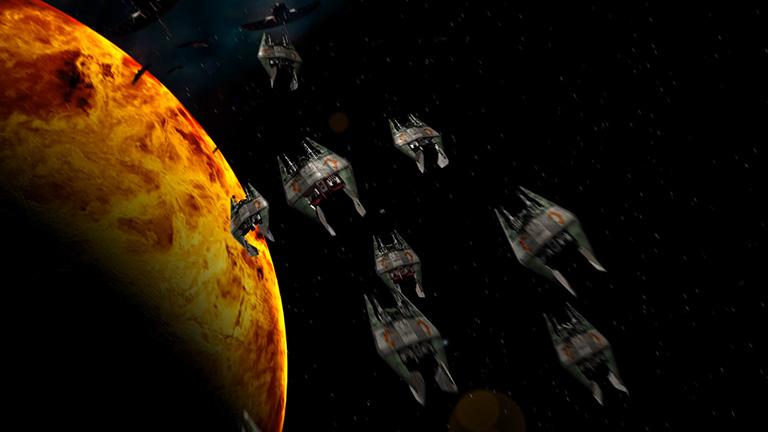 """Малые корабли Нарна, заново отображенные, сцена из 2 сезона, """"Вавилон-5"""""""